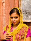 Woman in Colorful Sari in Old Delhi  India