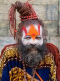 Religious Man at Pashupatinath Holy Hindu Place on Bagmati River  Kathmandu  Nepal