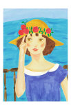Girl with a Straw Hat Who Stands by the Sea