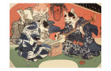 Singing Kimono Cats with Shamisen