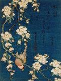 Bouvreuil sur une branche de cerisier pleureur, vers 1834 Reproduction d'art par Katsushika Hokusai