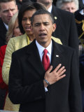 President Barack Obama Sings the National Anthem at the Swearing-In Ceremonies  January 20  2009