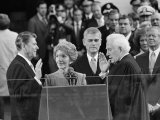 Chief Justice Warren Burger Administers the Oath of Office to Ronald Reagan  January 20  1981