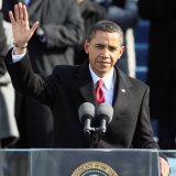 President Barack Obama Waves Before His Inaugural Address  Washington DC  January 20  2009