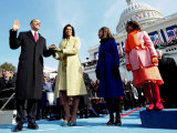President Barack Obama Takes the Oath of Office with Wife Michelle and Daughters  Sasha and Malia