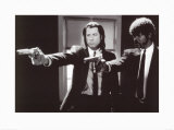 Pulp Fiction   Duo with Guns (Jackson and Travolta) B &amp; W Movie Poster
