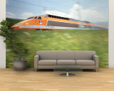 TGV High-Speed Train Moving Through Hills  Blurred Motion