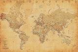 Carte du monde, vintage Poster