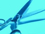 Blue Pair of Open Metal Scissors