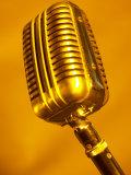 Antique Silver Microphone in Orange Light