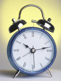 Studio Shot of a Blue and Silver Alarm Clock
