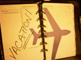 Day Planner with Picture of Jet and Words Vacation
