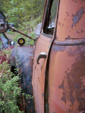 Rusty Old Car Decaying and Overgrown in Junkyard