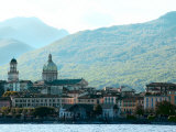 Skyline of Seaside European City Against Hills  Lago Majorie  Italy