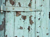 Close-Up of Weathered Metal Door Hinge with Paint Peeling in New Orleans  Louisiana