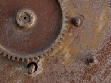 Close-Up of Industrial Metal Gear with Rusty Surface