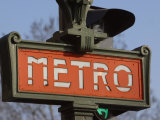 Close-Up of Outdoor Sign for the Metro in Paris  France