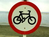 Bicycling Sign by Ocean