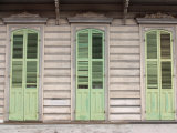 Exterior of Building with Green Window Shutters in New Orleans  Louisiana