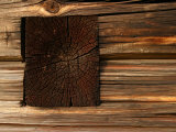Close-Up of Weathered and Rustic Log Cabin