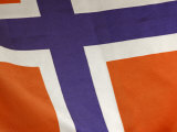 Cropped Close-Up of the Norwegian Flag in Norway