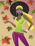 Woman in Retro Autumn Fashion