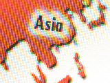 Grainy Computerized Map of Asia