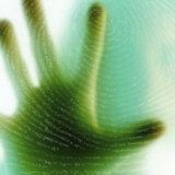 Hand Against Fingerprint on Glass