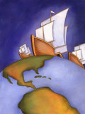 Ships of Christopher Columbus Sailing on Earth