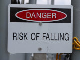 White Risk of Falling Danger Sign