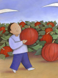 Man Walking with Pumpkin from Patch