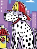 Dalmatian Dog with Helmet by Fire Hydrant
