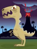 Dinosaur Near Exploding Volcano