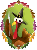 Anthropomorphic Turkey Pilgrim with Fork