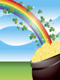 Shamrocks on Rainbow Leading to Pot of Gold