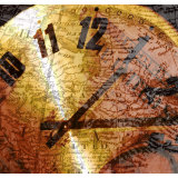 Analog Clock Superimposed on Antique Map