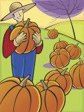 Proud Farmer Standing in Field of Pumpkins