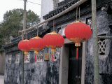 Traditional Chinese Paper Lanterns Hanging Outside Rustic Building in China