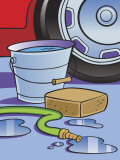 Hose  Sponge  and Bucket of Water by Car