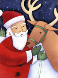 Santa Claus Working with Reindeer