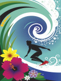 Silhouette of Surfer in Curl of Wave