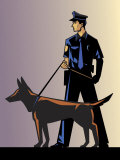 Policeman with German Shepherd