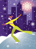 Woman Figure Skater Performing Outdoors in City at Night