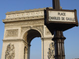 View of the Arc De Triomphe with Sign for Place Charles De Gaulle in Paris  France