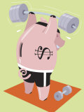 Financial Concept with Piggy Bank Lifting Weights
