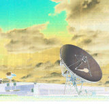 Composite of Clouds over Towering Satellite Dish with Binary Code Written on the Bottom