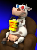 Cow in Chair with Popcorn and 3-D Glasses