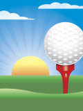 Golf Ball on Tee with Sun