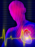 Heartbeat by Heart with Silhouetted Person