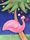 Flamingo Lawn Ornament and Christmas Lights in Palm Trees
